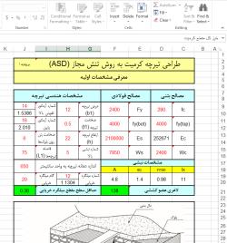 فایل اکسل طراحی تیرچه کرمیت به روش تنش مجاز (ASD)